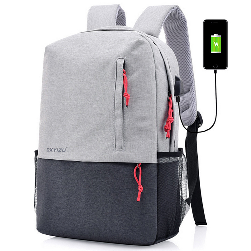 Us 36 75 Fashion Hit Color Backpack Large Capacity Travel Women School Bag Men Laptop With External Usb Interface Www Onebling