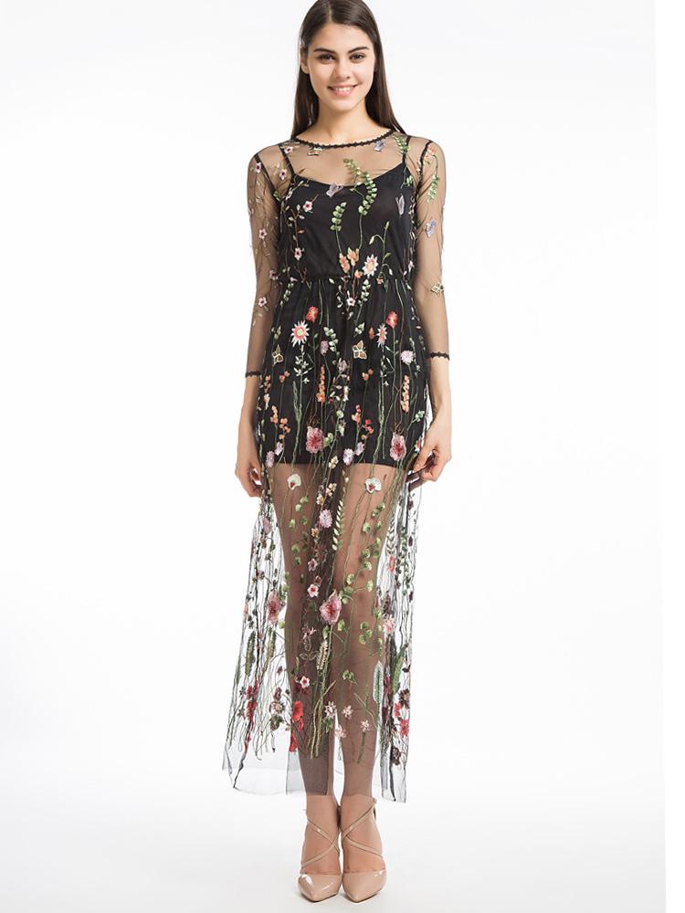 Us 32 Women Embroidery Flower Casual Dress Mesh Maxi Dress Beach