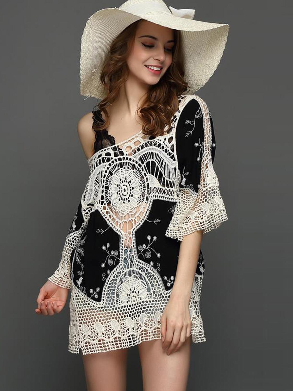 7e96a30add4ea Sexy Beach Cover Ups Crochet Swimwear Dress Loose Women Mini Dress. Loading  zoom