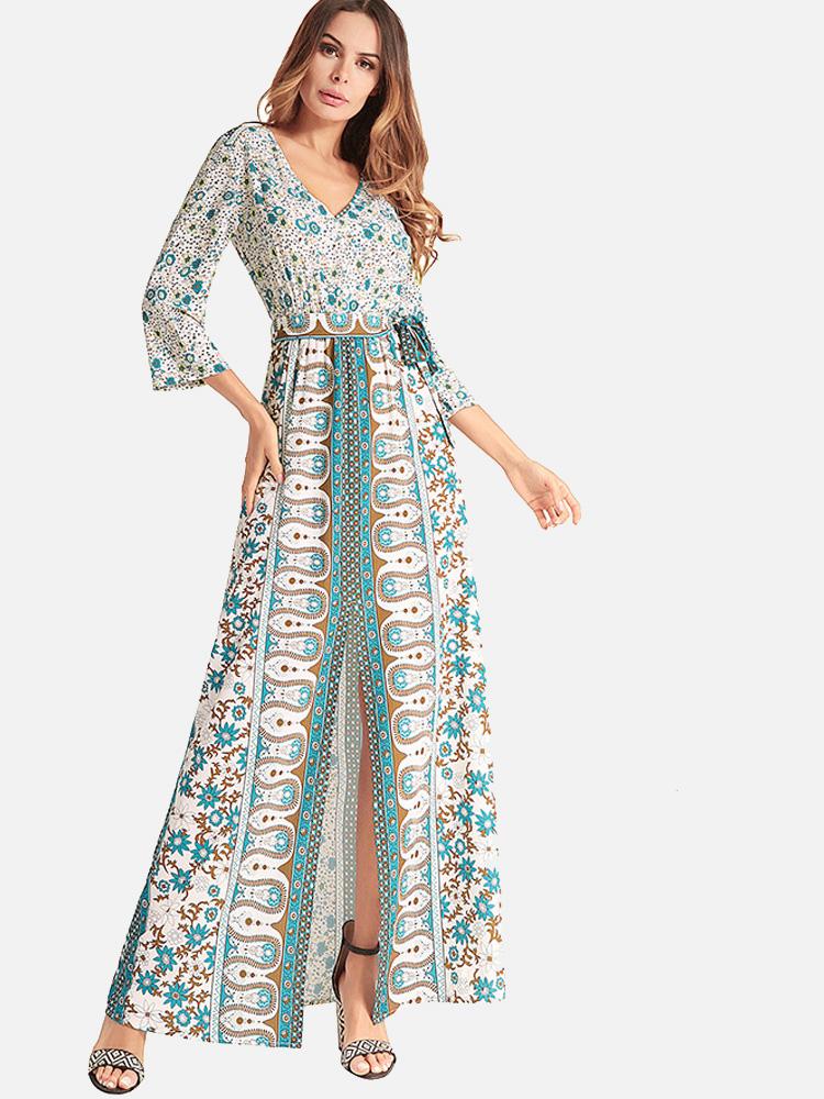 df6e340c4ee US  42 - Floral Print Boho Sexy Split Maxi Dress - www.onebling.com