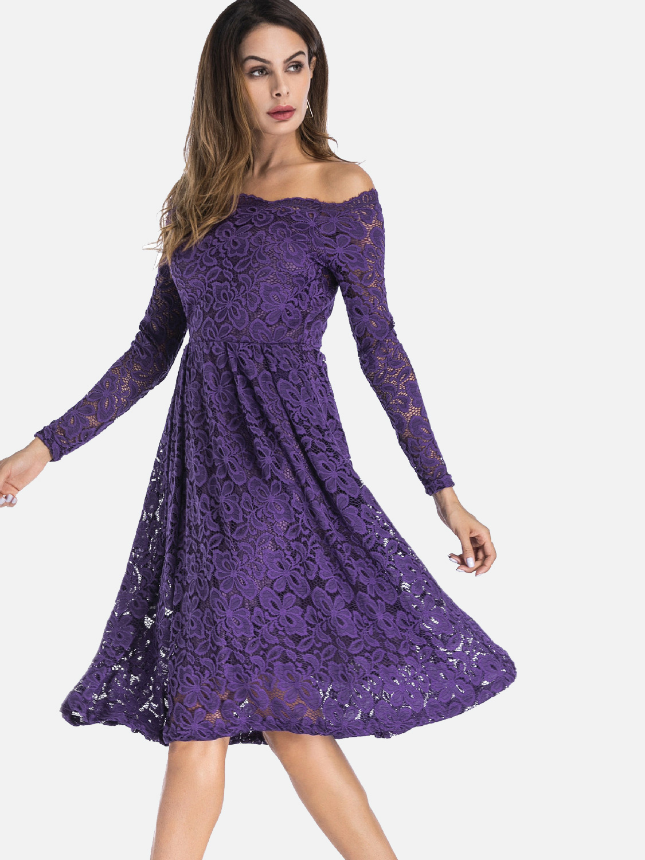 OneBling Plus Size Cold Shoulder Scallop Neck A-Line Lace Dress
