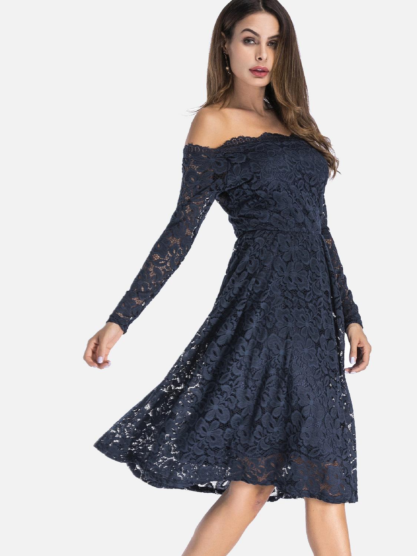 OneBling Plus Size Long Sleeve Lace Overlay Midi Bardot Dress