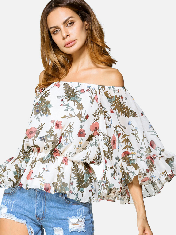 accaf85bb3d OneBling Exaggerate Fluted Sleeve Peplum Hem Printed Off Shoulder Blouses. Loading  zoom