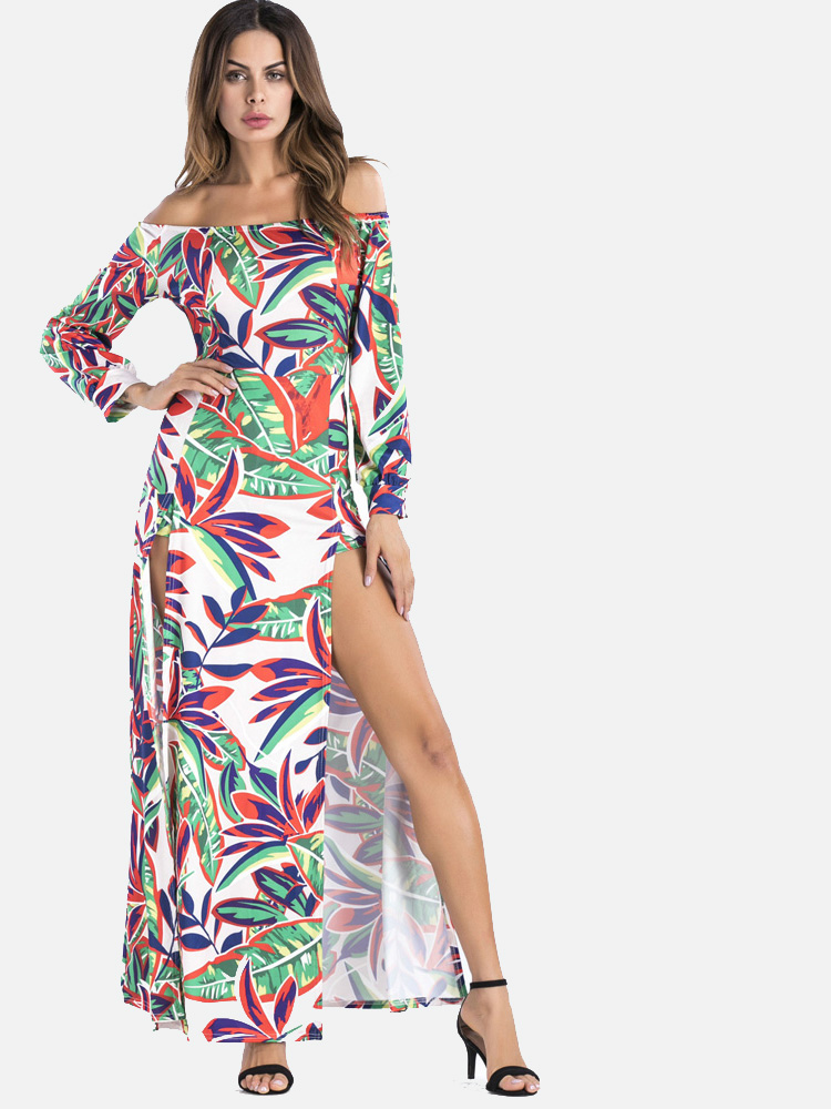 a4cffbbde7 OneBling Sexy Off Shoulder Long Sleeve High Split Floral Print Maxi Dress. Loading  zoom