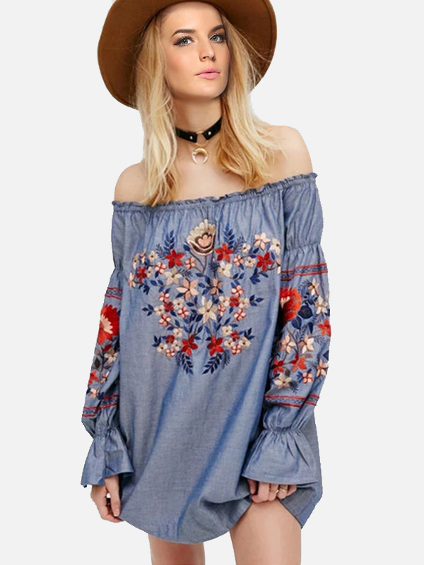 a27c56b25da US  34.65 - Summer Women Embroidery Dress Long Sleeved Slash Neck Flowers  Match Fashion Print Floral Woman Clothes - www.onebling.com
