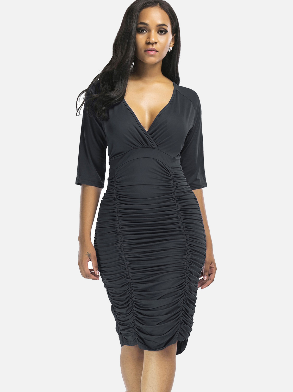 70ceae3d84 US  28 - Sexy Deep V Folds Sheath Dress Women High Waist Dress Plus Size -  www.onebling.com