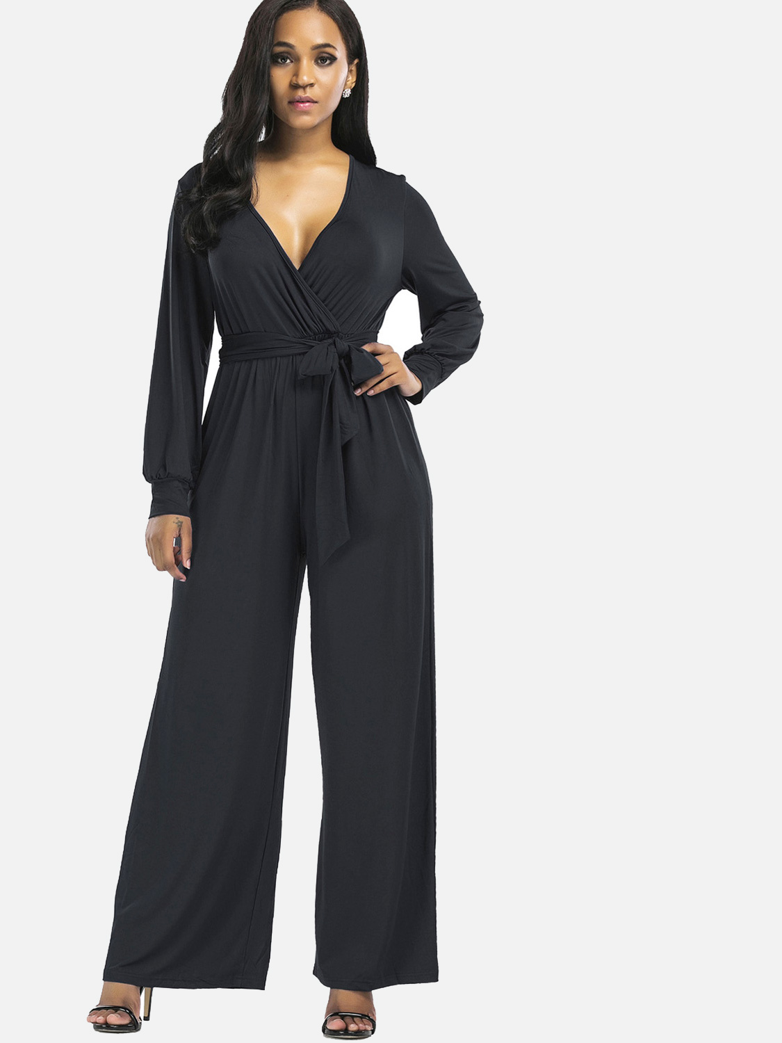 ec5fa2728323 US  34 - Stretch Rompers Sexy Deep V Women Wide Leg Jumpsuits with Belts -  www.onebling.com