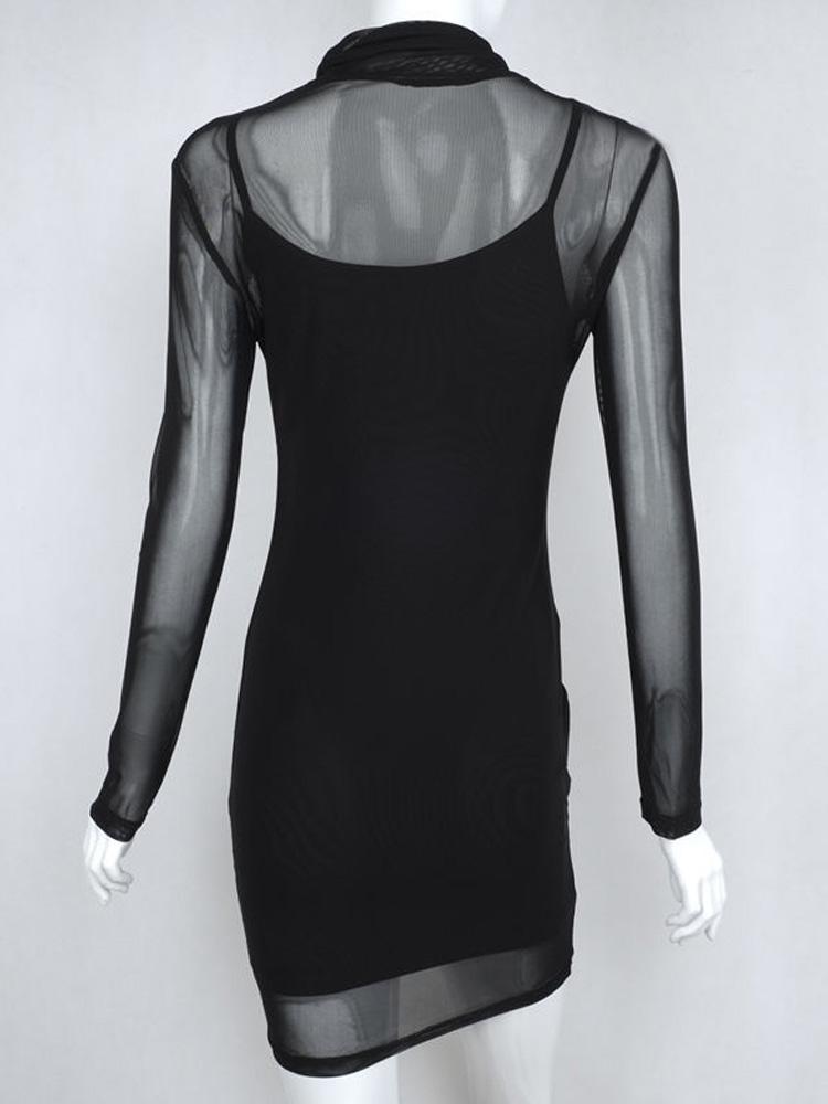 74f22e59 US$ 22 - OneBling Sexy Sheer Mesh Two Piece Women Sheath Dress Turtleneck  Long Sleeve Mini Dress - www.onebling.com
