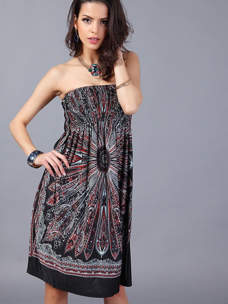 Us 14 Y Women Strapless Wred Milk Silk Bohemian Dresses Www Onebling