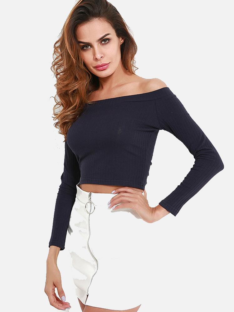 cc1a4f03dafc8 US  14 - Sexy Off Shoulder Slim Fit Women Short T-Shirts Crop Tops -  www.onebling.com