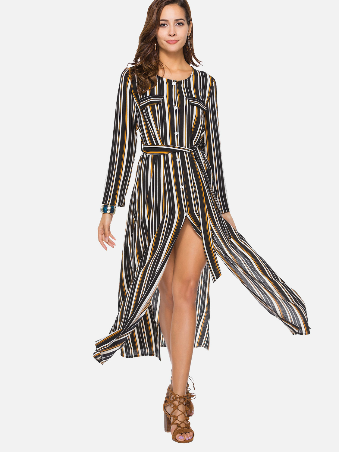 c1ea8f0c99e5 US  30 - Sexy Split Women Striped Shirts Loose Dress - www.onebling.com