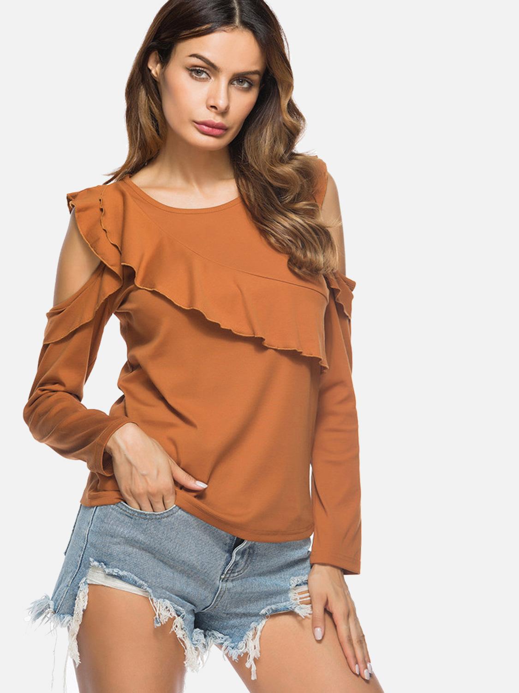 4bcdc37b363f8 US  28 - Sexy Off Shoulder Slim Fit Women Tops Ruffles Long Sleeve T-Shirts  - www.onebling.com