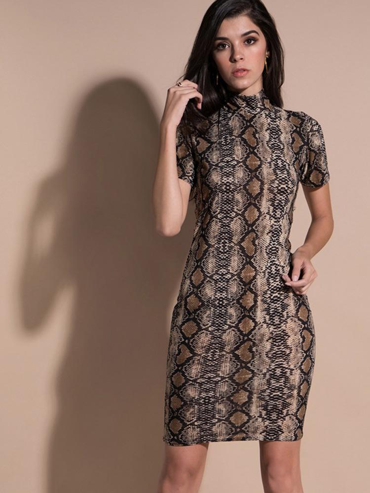 7e83550f9159 US  16 - Geo Cut Back Mock Neck Snakeskin Print Bodycon Dress - www ...