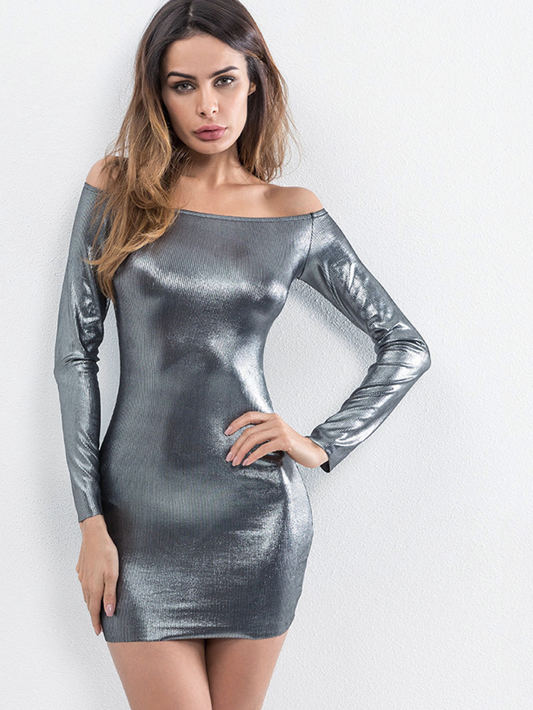 4b74c4a4ce1 OneBling Long Sleeve Metallic Bodycon Off The Shoulder Dress. Loading zoom