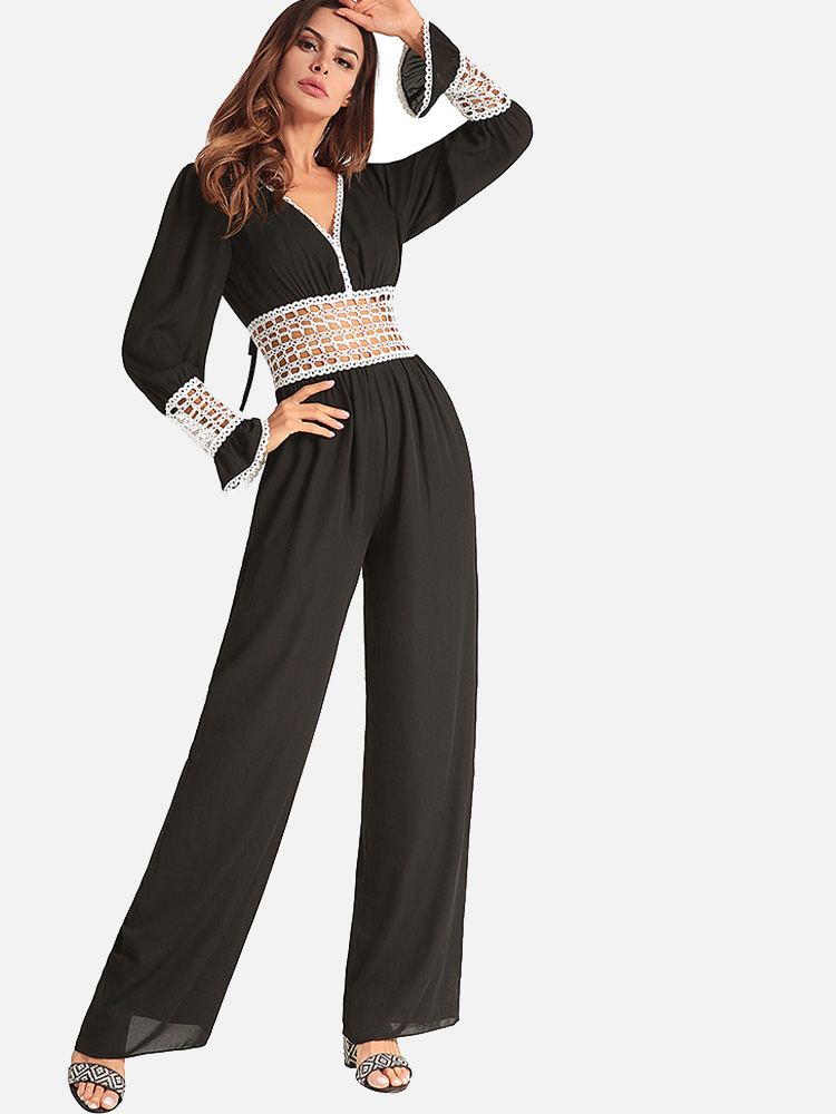 d689a2d8cfaa US  66 - Lace-Up Back Cutout Lace Insert Flared Cuff Chiffon Jumpsuit -  www.onebling.com