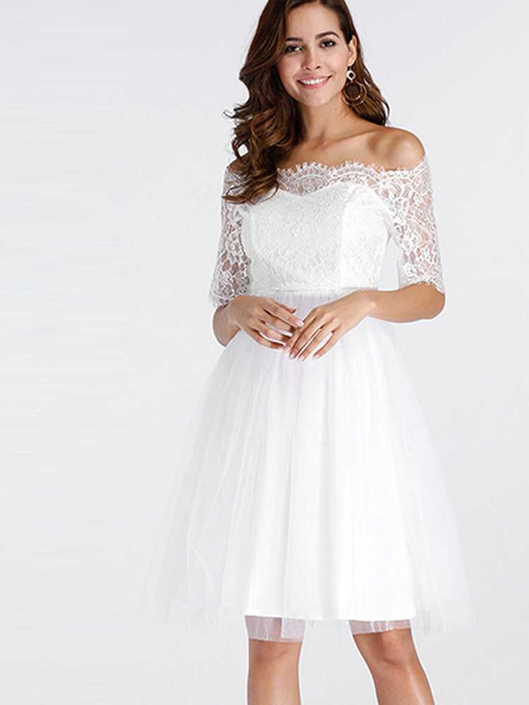 2ba03b395 US$ 34 - OneBling Off Shoulder Mesh White Lace Dress - www.onebling.com