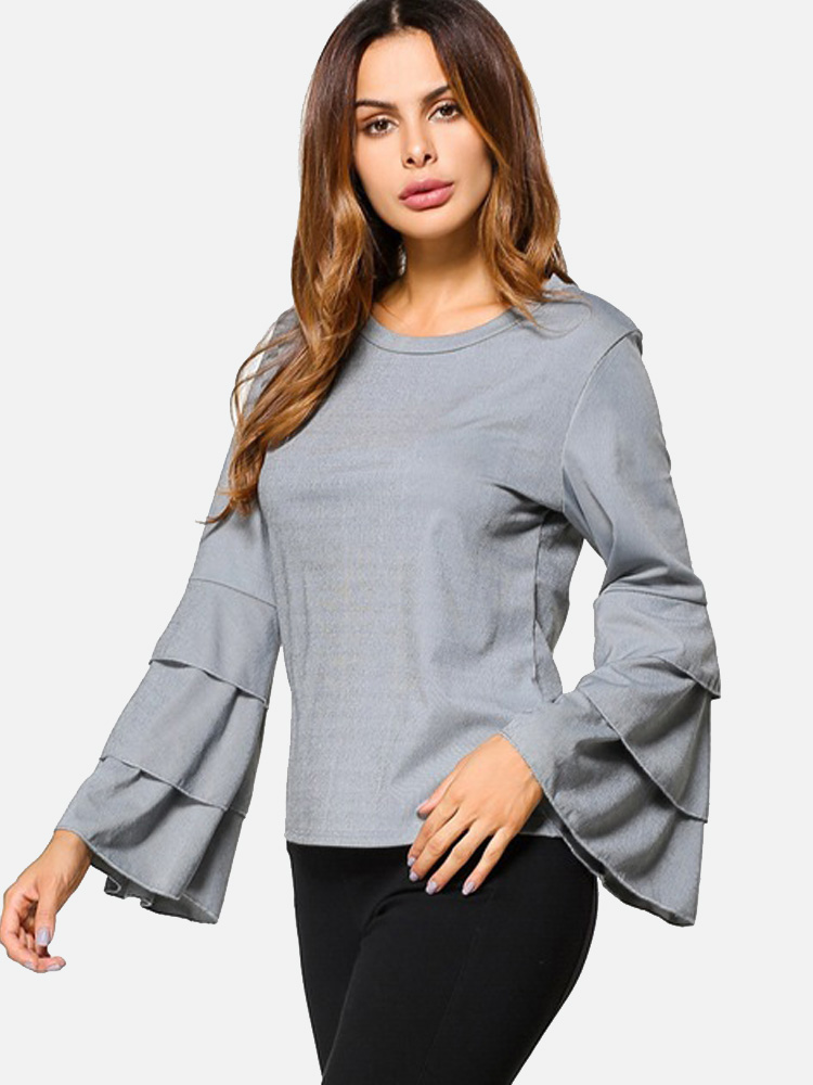 588ccf88 US$ 24 - OneBling Trumpet Sleeves Stitching Top Women Casual Long Sleeves T- shirt - www.onebling.com