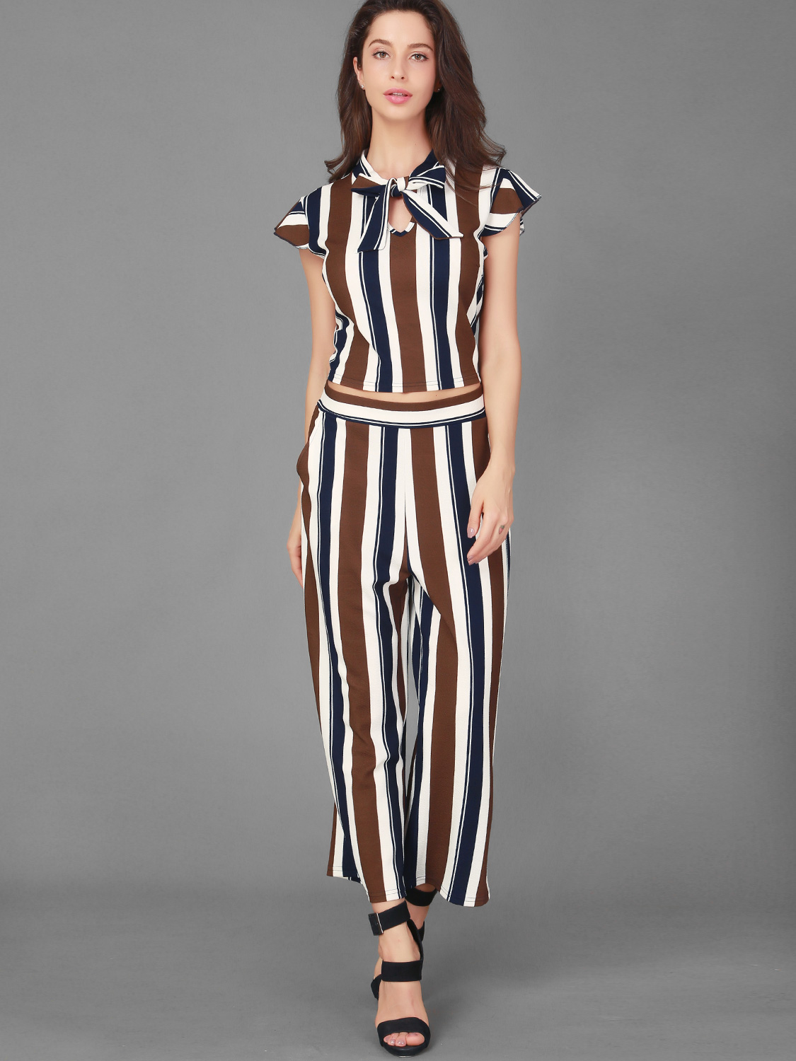27339b547a1 US  26 - Contrast Striped Flutter Sleeve Tie Neck Crop Tops and High Waist  Pants Sets - www.onebling.com