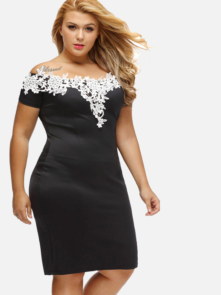 Us 30 Plus Size Crochet Lace Contrast Bodycon Off The Shoulder