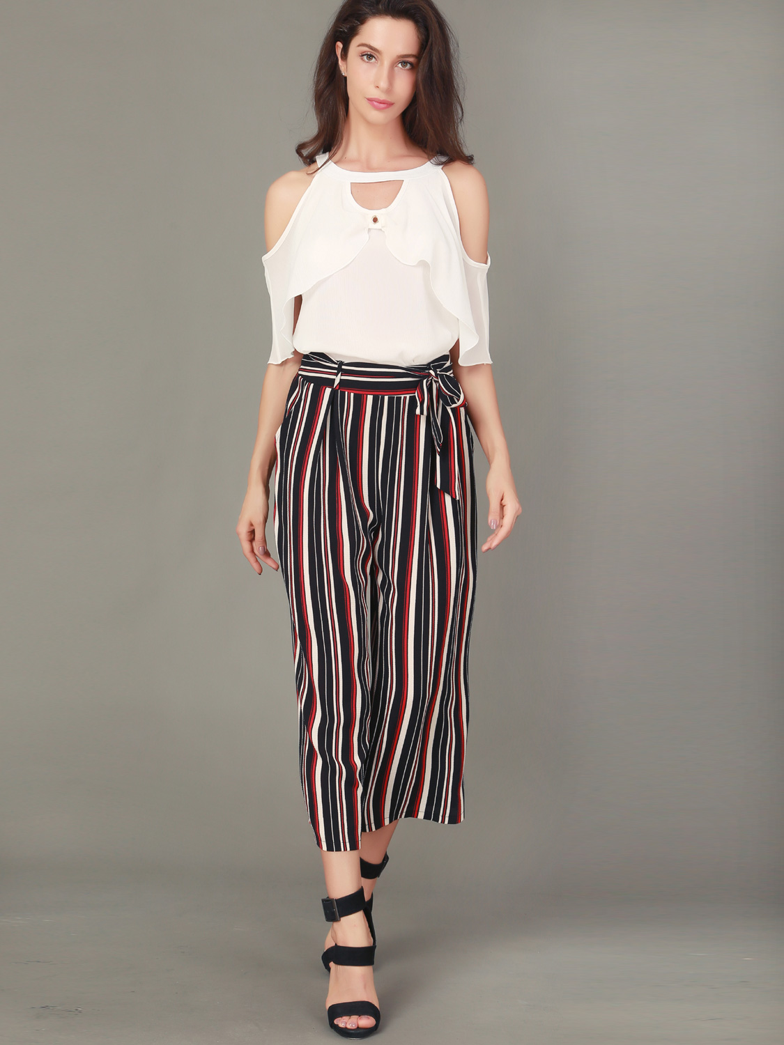 3582a10a89 OneBling Two Piece Outfits Open Shoulder Ruffles Blouses and Striped Pants. Loading  zoom