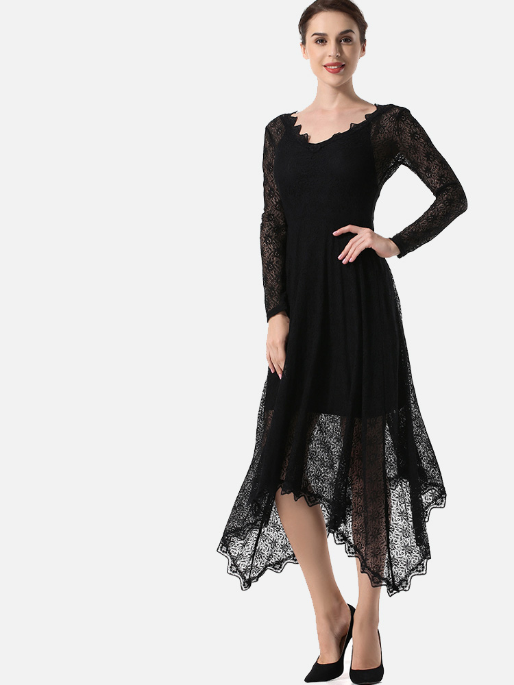 2662e557a0771 US$ 40 - OneBling Hanky Hem See-Through Lace Maxi Dress with Scallop Edge -  www.onebling.com