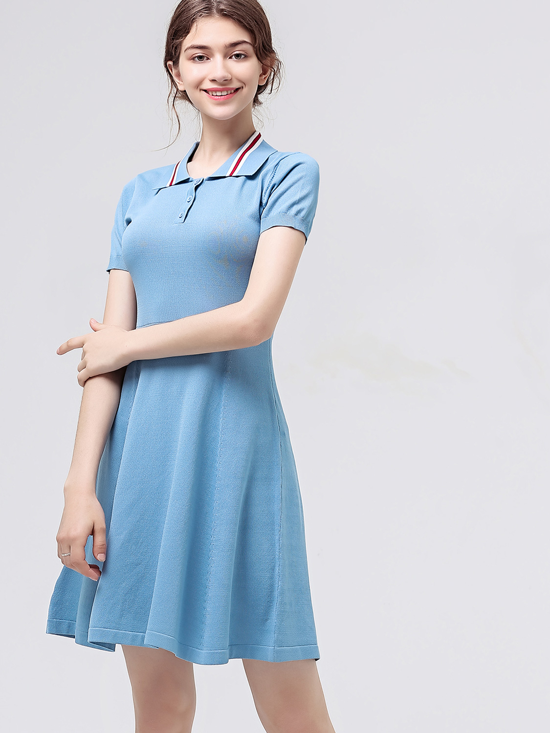 cb39fd386 US  48 - Contrast Collar Button Front Short Sleeve Fit and Flare Tee Dress  - www.onebling.com