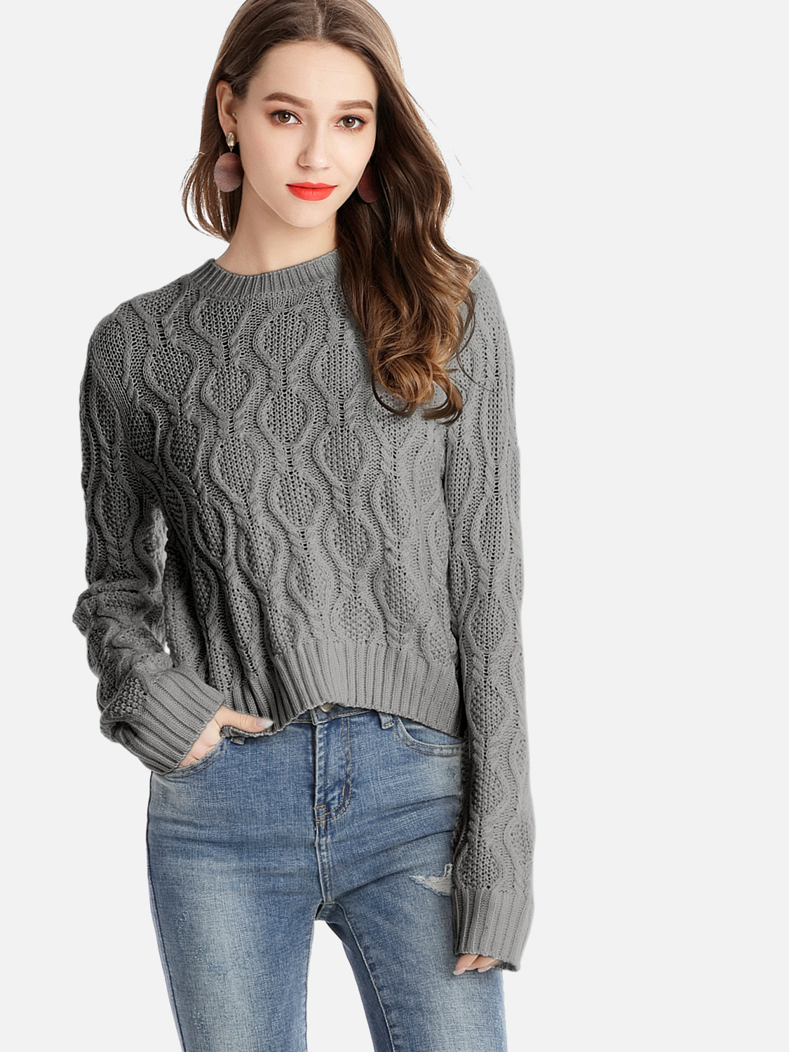 eda80a8e9a US  38 - OneBling Plus Size Long Sleeve Cable Cropped Knitted Jumper -  www.onebling.com