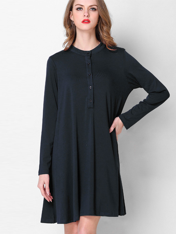 US$ 40 - OneBling Plus Size Button Front Midi Dress - www.onebling.com