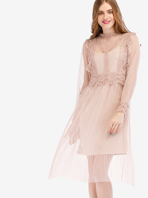 cb3330a9b5e Cutout Back Mock Neck Lace Yoke 2 In 1 Sheer Mesh Dress. Loading zoom