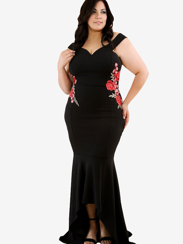 Us 50 Plus Size Symmetrical Embroidery Maxi Mermaid Dress With