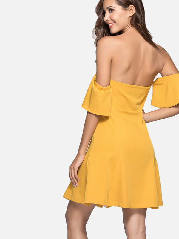 946c70654b677 US$ 32 - Dual Pockets Zip-Front Fluted Sleeve Sweetheart Mini Bardot Dress  - www.onebling.com