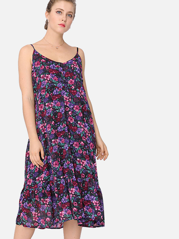 Us 40 Plus Size Peplum Hem Calico Print Midi Cami Dress Www