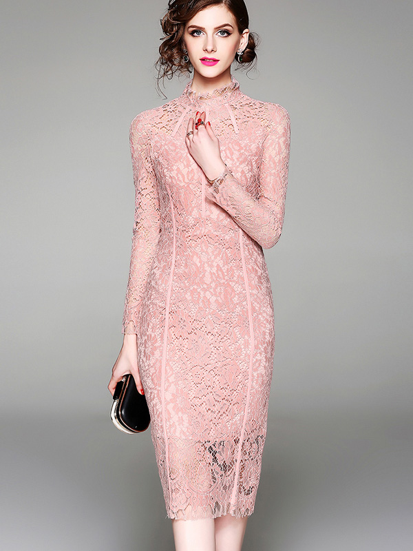Us 44 Onebling Mock Neck Long Sleeve Crochet Lace Pencil Dress