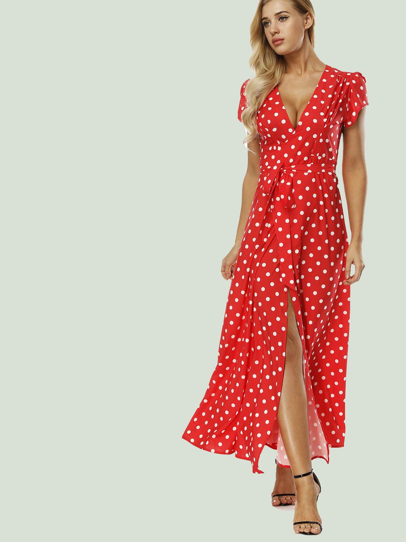 da95a13fafc US  34 - OneBling Polka Dot Maxi Wrap Dress with Fold Pleated -  www.onebling.com