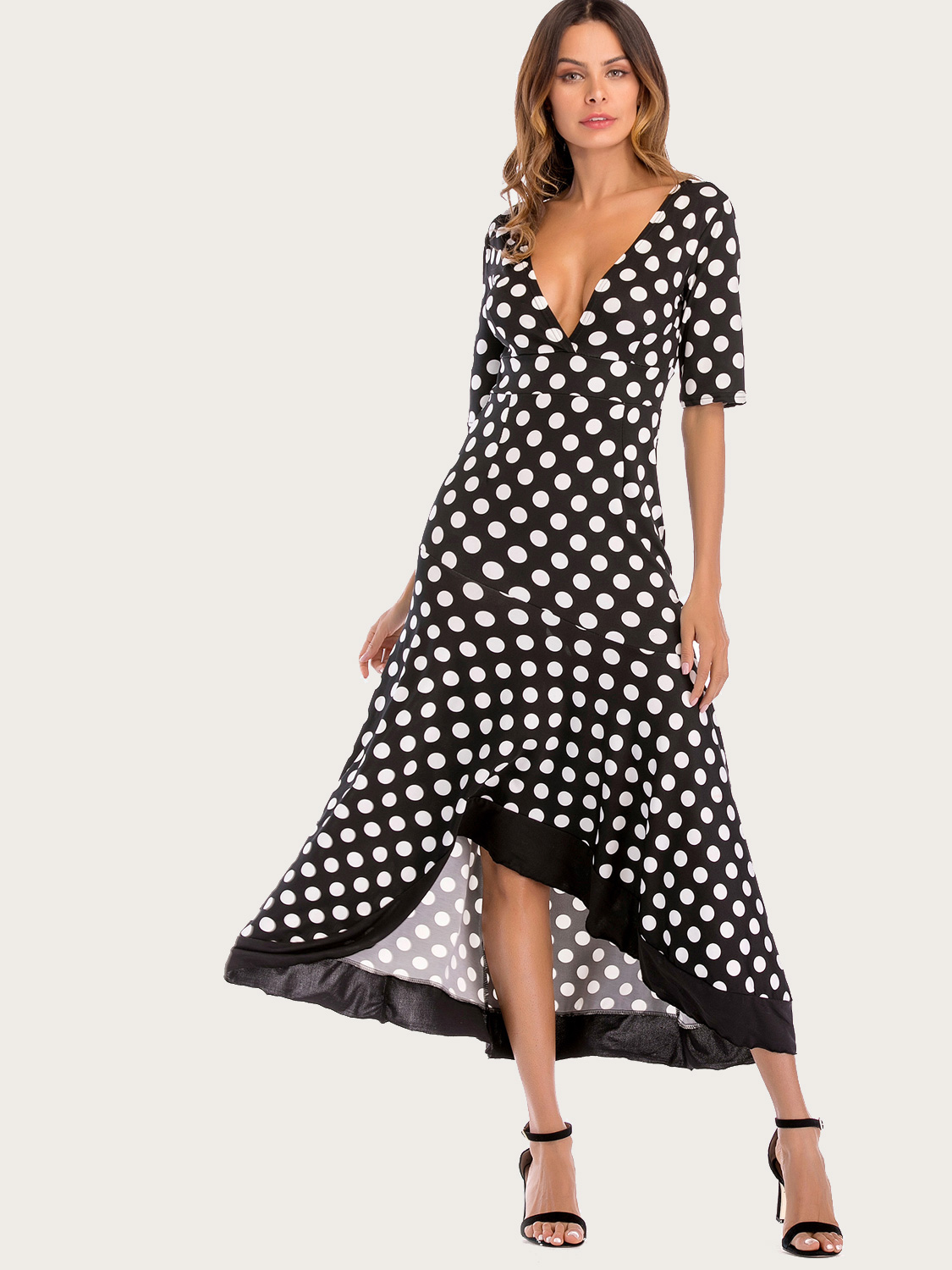 b36d799495 US$ 30 - Deep V Neck Irregular Ruffle Backless Dot Maxi Dress - www ...
