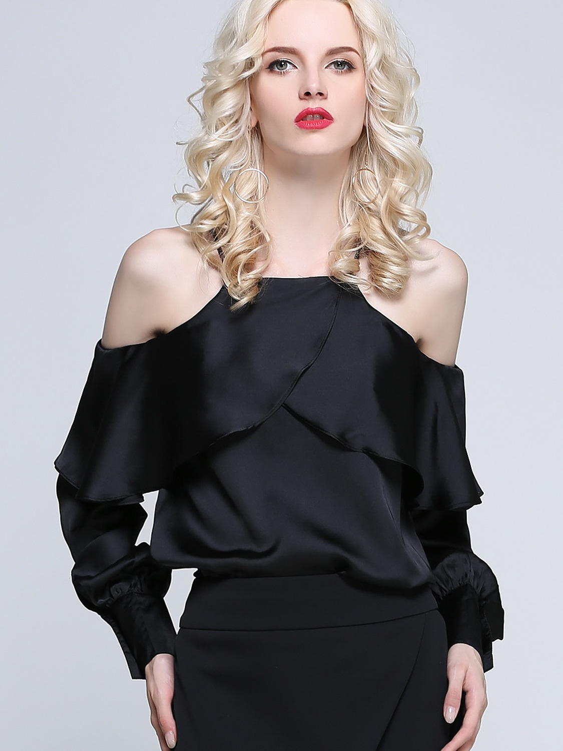 6fd9bb4d7fe US  46 - Ballon Sleeve Cold Shoulder Satin Tops with Ruffles Layer -  www.onebling.com