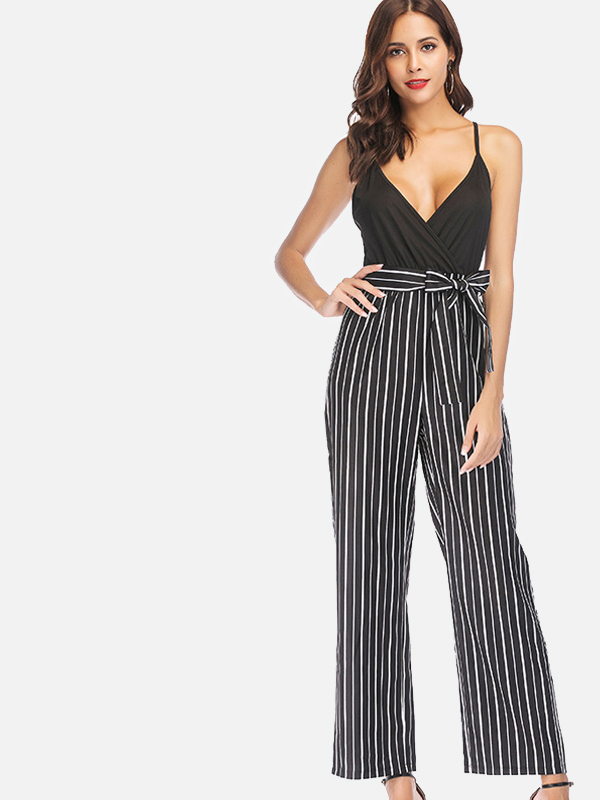 a89ef6034b3e US$ 30 - OneBling Keyhole Back Cami Wrap Front Contrast Striped Jumpsuit -  www.onebling.com