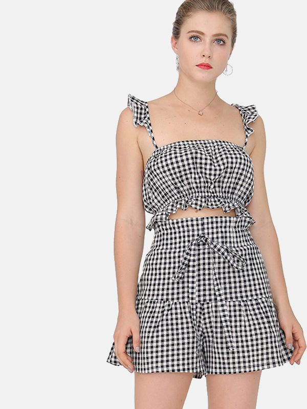 8c0bf81499 OneBling Two Piece Ruffles Detail Plaid Sets Cami Crop Tops and Tie High  Waist Shorts. Loading zoom
