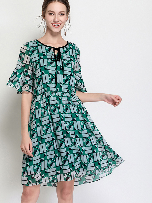 Us 64 Plus Size Mixed Print Tie Front Layered Sleeves Smock Dress
