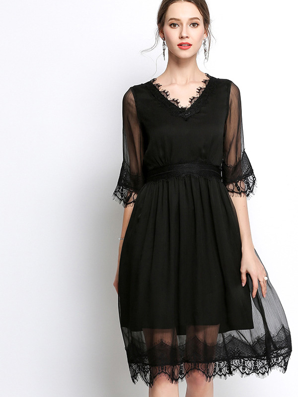 273df910232 US  68 - Plus Size Eyelash Lace Insert Scallop Edge Pleated Midi Dress with  Sheer Fabric - www.onebling.com