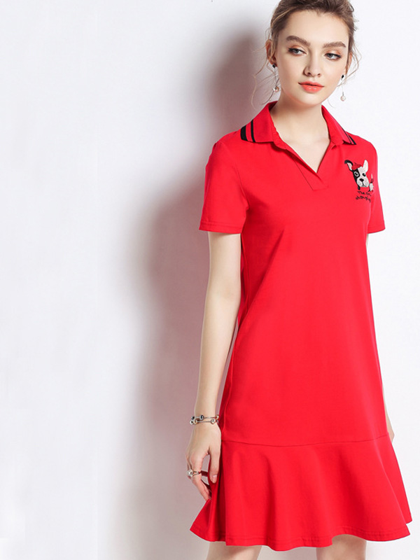 OneBling Plus Size Letter Dog Embroidery Peplum Polo Dress