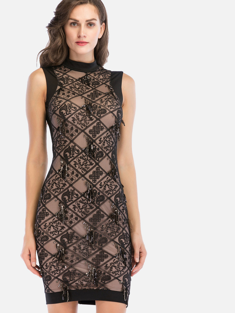 fb6a8825dea Embroidery Mesh Overlay Mock Neck Zip-Back Contrast Dress with Fringe  Sequins. Loading zoom