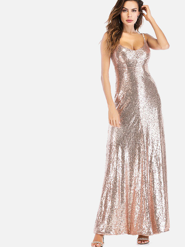 d02a78419061 OneBling Open Back Low Collar Maxi Cami Dress In Sequins. Loading zoom