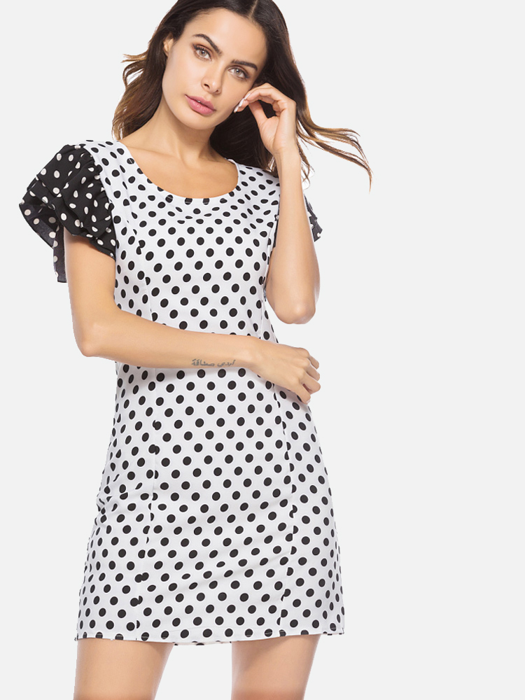 9e654901b9b5 US  30 - Black White Polka Dot Bodycon Dress - www.onebling.com