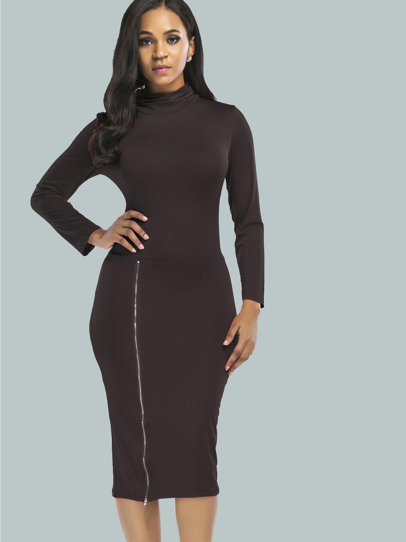 749f9945 US$ 22 - OneBling Right Side Zipper Turtleneck Women Sheath Dress - www. onebling.com