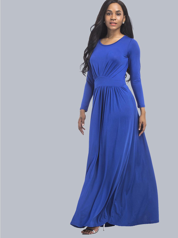 OneBling Elegant High Waist Long Sleeve Folds Women Floor Length Dress Plus  Size