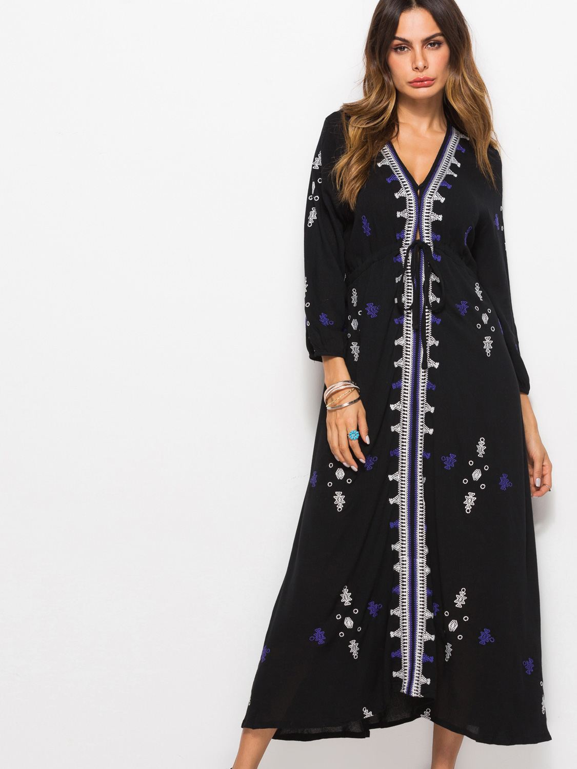 OneBling Plus Size Embroidered Embellished Tie Waist Deep Plunge Midi Dress  with 3/4 Sleeves