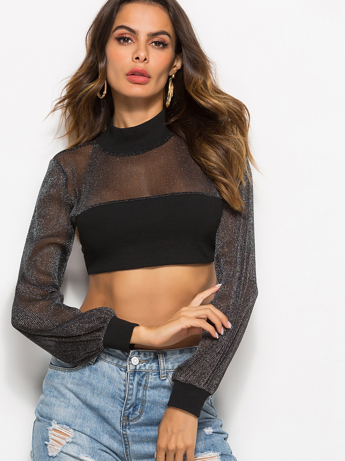 f855a405fccf9 High Neck Glitter Mesh Contrast Crop Tops with Tie Back. Loading zoom
