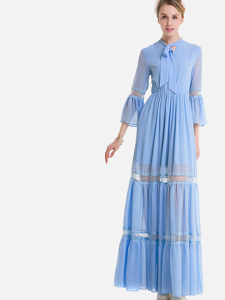 OneBling Plus Size Tie Neck Lace Insert Fluted Sleeve Maxi Tiered Dress