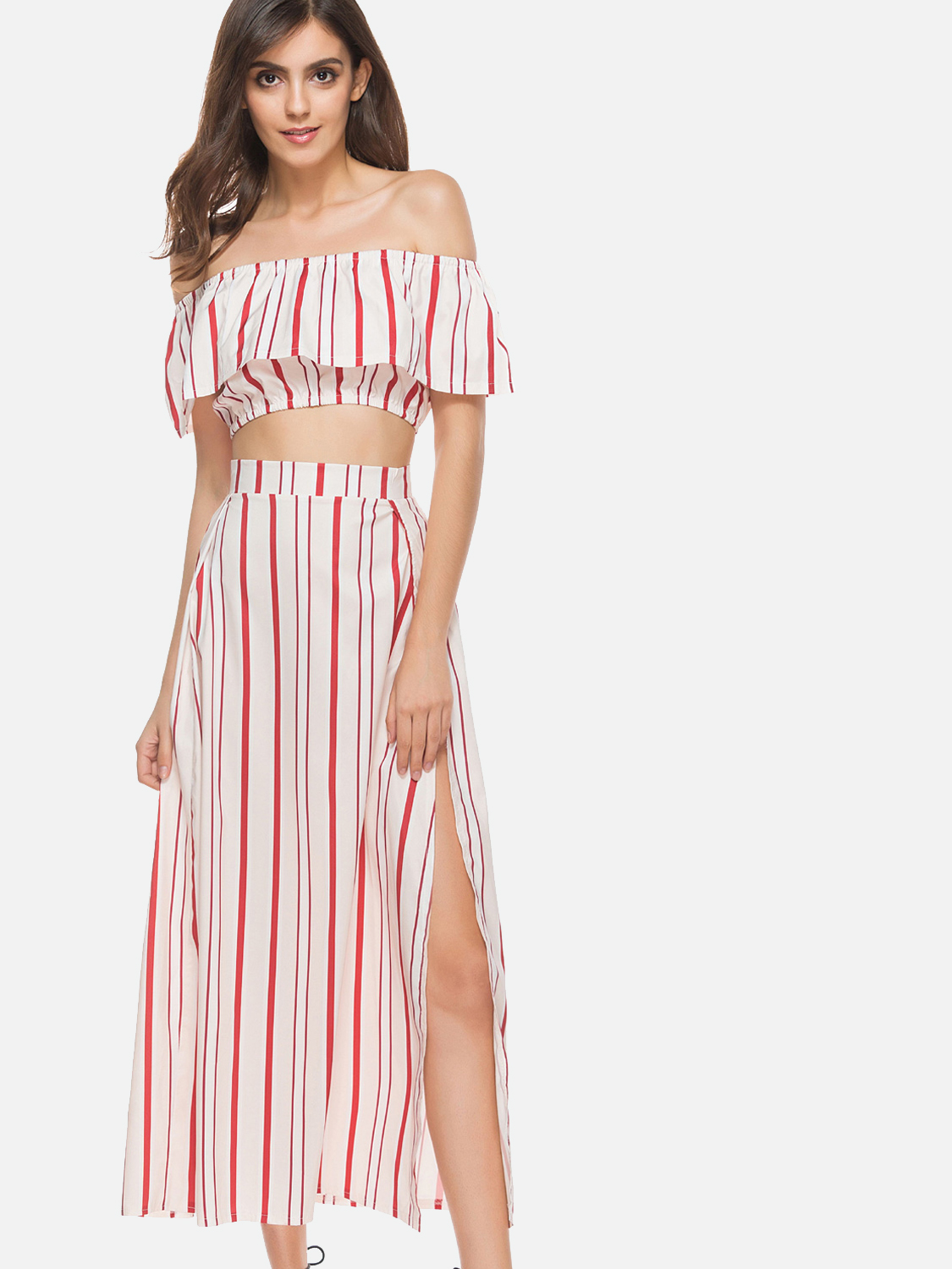 02b7a711a1 OneBling Three Piece Striped Sets Crop Tops and Split Side Maxi Skirts. Loading  zoom